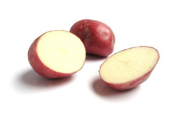 Red Bliss potatoes have bright red skin with creamy white flesh. They're slightly bitter, and have a firm, moist and waxy tex