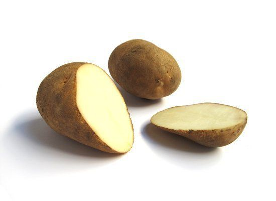 Idaho Russet potatoes are russet-skinned with white flesh. They're what we typically imagine when we think of potatoes. They