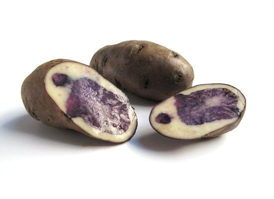 Purple Peruvian potatoes have deep purple skin and flesh. The flesh is either uniform throughout or marbled with white and de