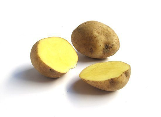 Carola potatoes are oblong with yellow skin and yellow flesh. They have a strong, classic potato flavor with earthy and butte