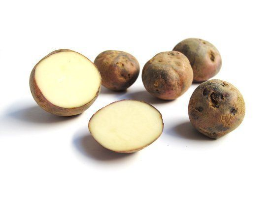 Purple Viking potatoes are small in size with dark purple skin and white flesh. They're meaty, slightly sweet and buttery, an