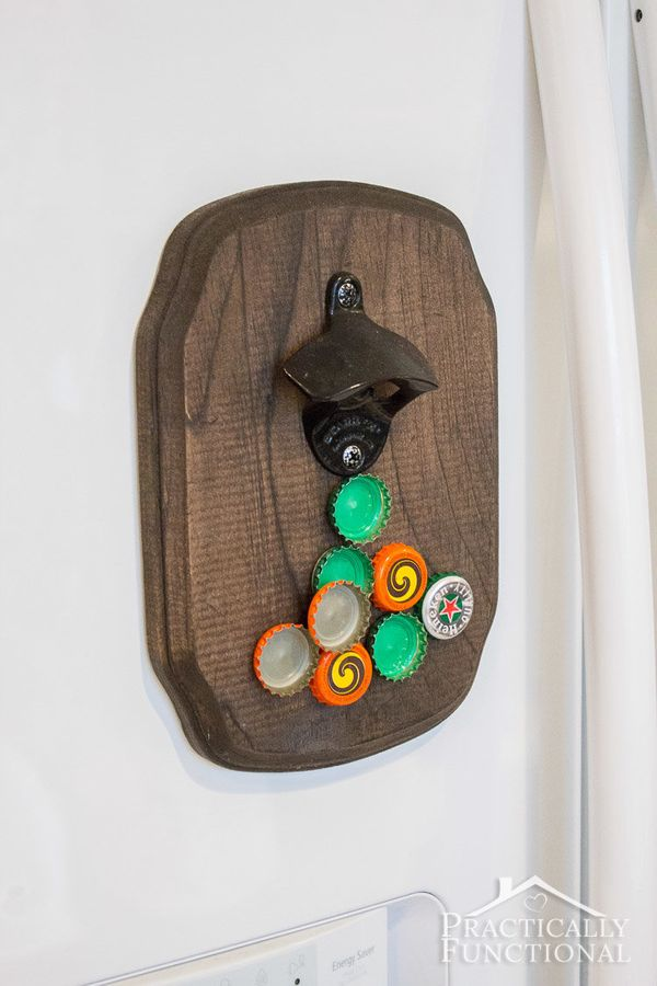 """Its magnet sucks up the bottle caps, so you'll never fish out <a href=""""http://www.practicallyfunctional.com/diy-magnetic-bott"""