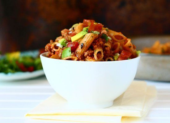 "<strong>Get the <a href=""http://www.thetalkingkitchen.com/taco-pasta/"" target=""_hplink"">Taco Pasta recipe</a></strong><em>Pho"