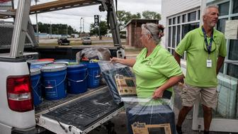 Anne and Jeff Wade of the North Carolina Conference United Methodist Church Disaster Relief Team load their truck full of supplies in anticiipation of Hurrican Florence making landfall later that day in Lumberton, NC early on Thursday morning.