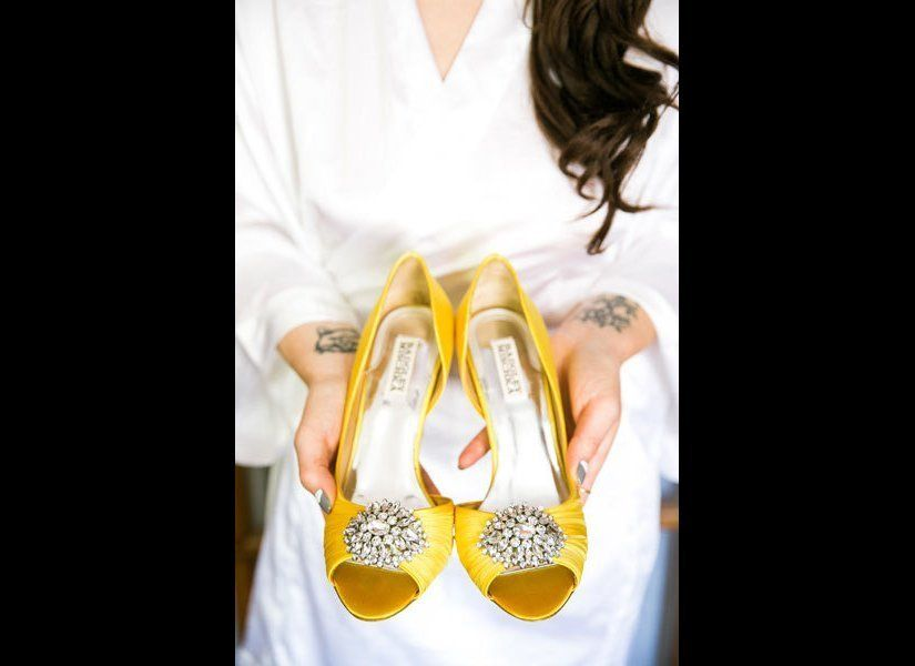 """Shoes in a bright shade pack a punch whenever you walk.<br><br>Related: <a href=""""http://www.bridalguide.com/dresses/complete-"""