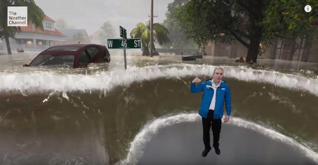 허리케인의 위력을 보여주는 미국 일기예보 방송의 놀라운