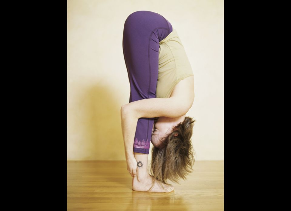 The most basic of yoga asanas, the forward bend or Uttanasana involves bending over and attempting to have your knees touch y