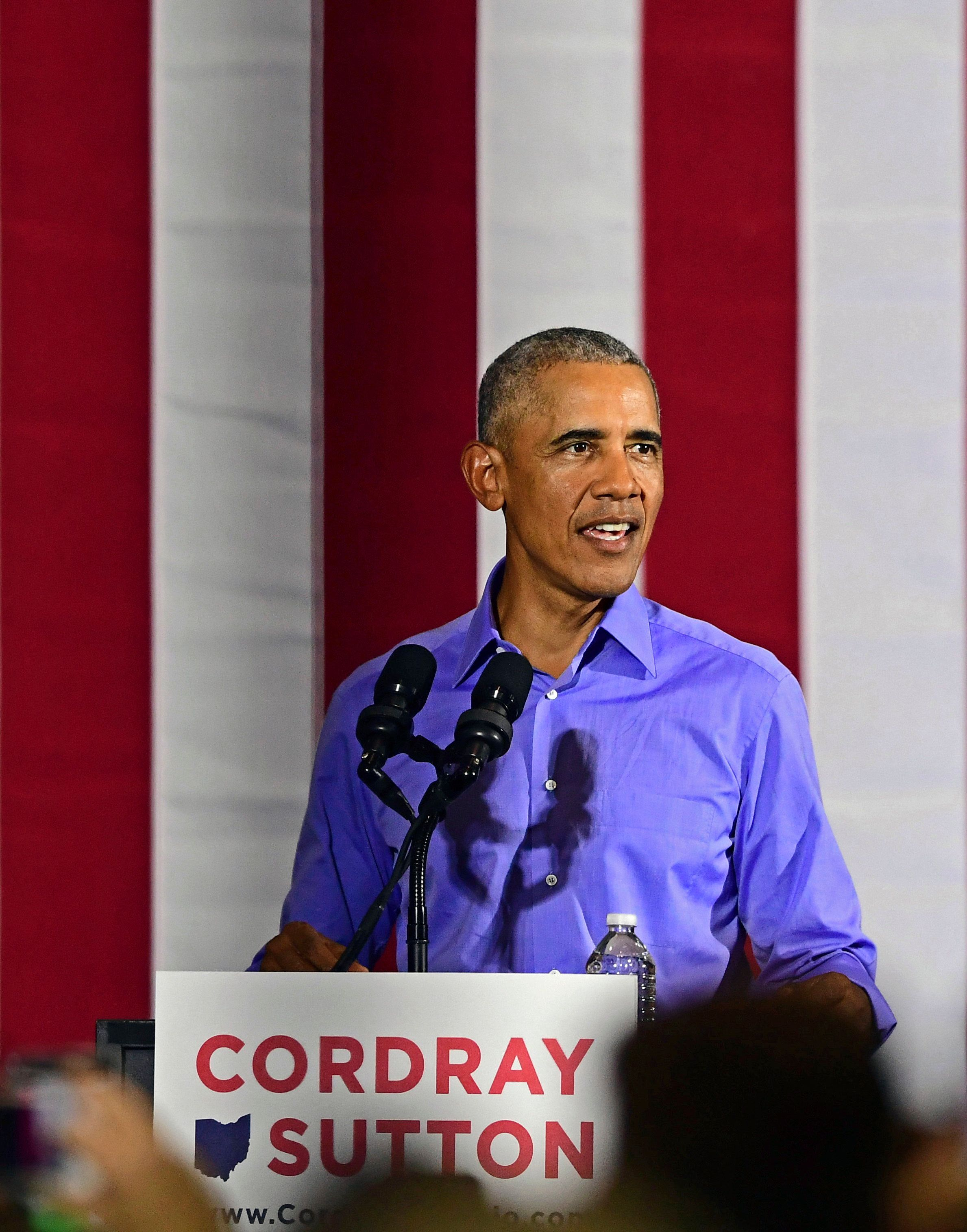 Former President Barack Obama speaks as he campaigns in support of Ohio gubernatorial candidate Richard Cordray, Thursday, Sept. 13, 2018, in Cleveland. Former President Barack Obama was in closely divided Ohio to campaign for Democratic gubernatorial candidate Richard Cordray, running mate Betty Sutton, U.S. Sen. Sherrod Brown and the party's statewide slate.(AP Photo/David Dermer)