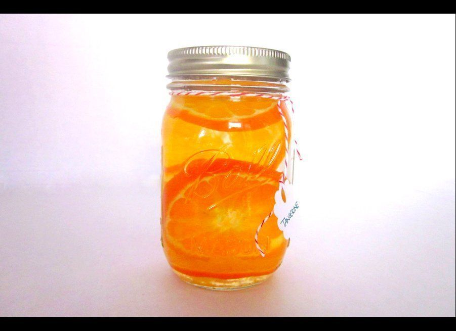 One whole tangerine is sliced up in this 16-ounce Ball jar and left to infuse for one week. Try mixing it in a sidecar instea