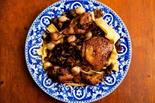 "<strong>Get the <a href=""http://www.simplyrecipes.com/recipes/coq_au_vin/"">Coq au Vin recipe from Simply Recipes</a></strong>"