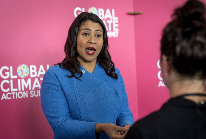 San Francisco Mayor London Breed speaks during an interview at the Global Climate Action Summit in San Francisco on Thursday,