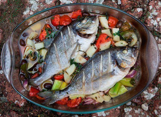 """Take your fish to the next level with acqua pazza or """"crazy water,"""" a white wine broth that includes onion, tomato and potato"""