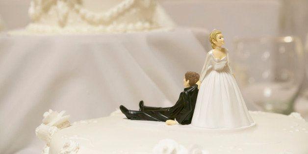 Top of the white Wedding Cake