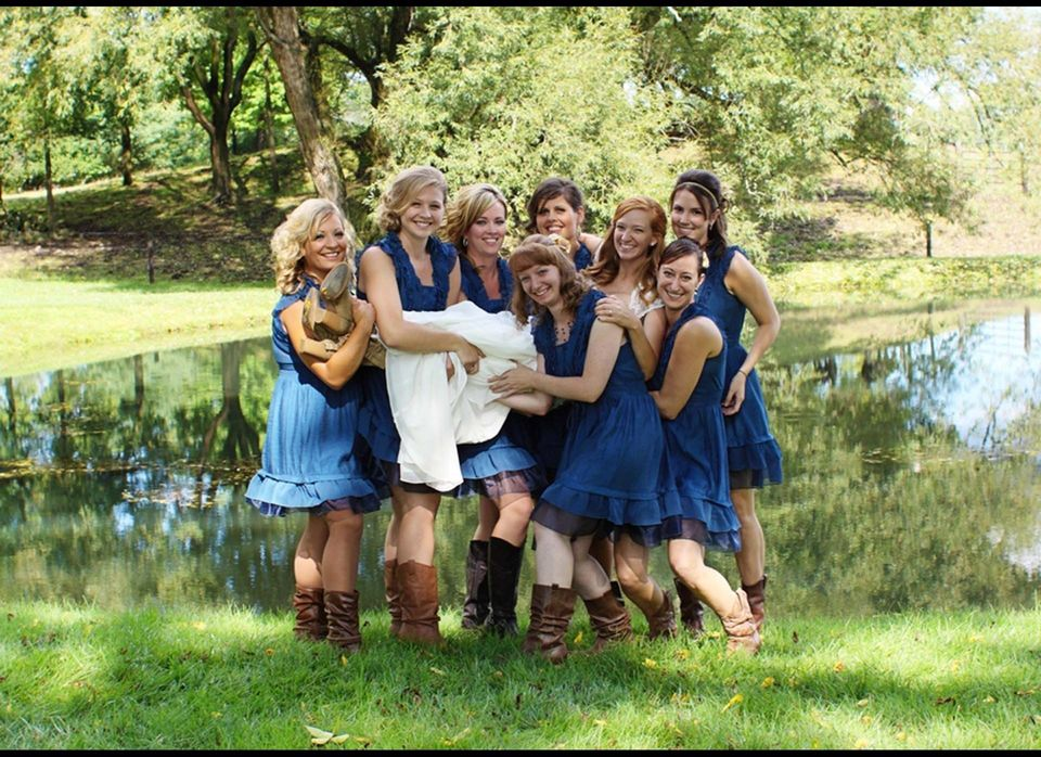 "Ashley's bridesmaids lend a helping hand at her <a href=""http://www.bridesview.com/wedding/a-gorgeous-country-affair-boots-an"