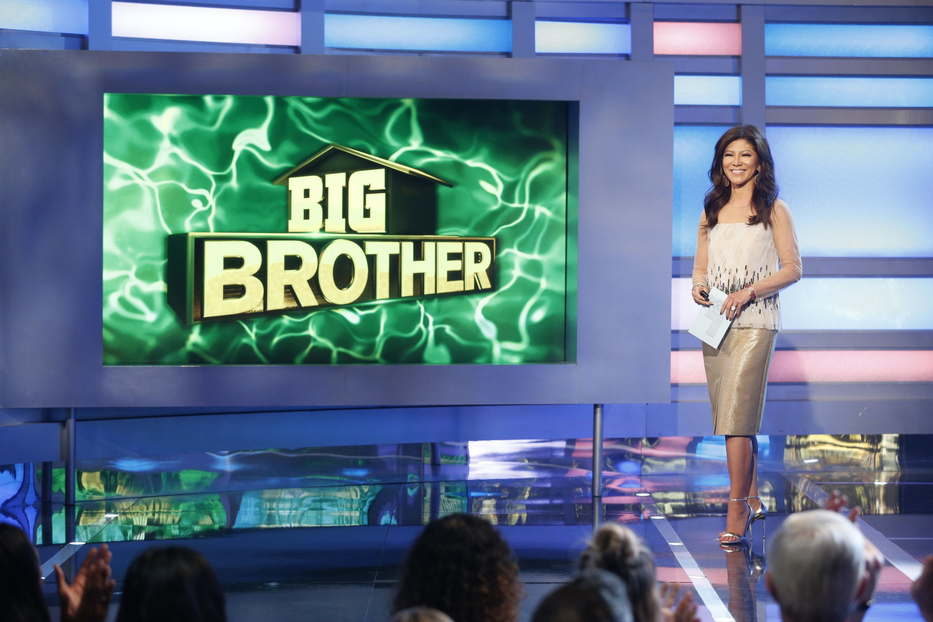 "Host Julie Chen on ""Big Brother"" last month. Her husband, Les Moonves, was recently ousted as head of CBS."