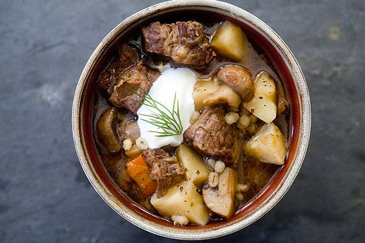 """<strong>Get the <a href=""""http://www.simplyrecipes.com/recipes/beef_and_barley_stew_with_mushrooms/"""" target=""""_blank"""">Beef and"""