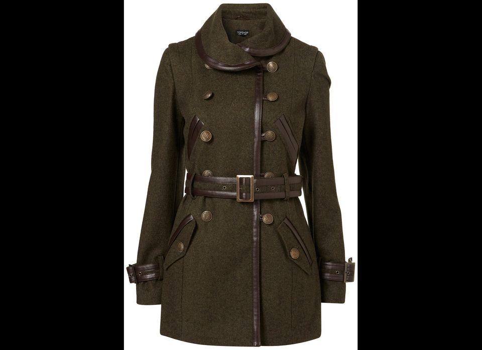 "Topshop Military Belted Coat, $178 at <a href="" http://us.topshop.com/webapp/wcs/stores/servlet/ProductDisplay?catalogId=3306"