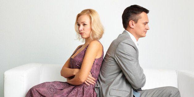 Unhappy couple going through break-up