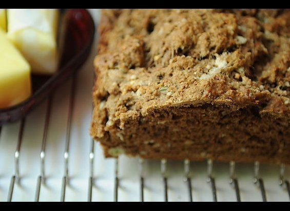 This chewy, dense quick bread has a malty sweetness from the beer (rule of thumb: the more flavorful the beer, the more flavo