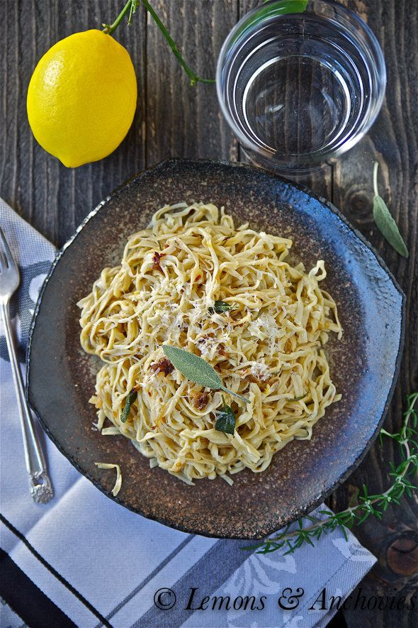 "<strong>Get the <a href=""http://lemonsandanchovies.com/2012/10/homemade-spaghetti-with-shallots-sage-lemons-anchovies/#.UPRf_"
