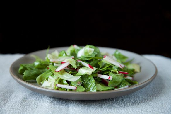 "<strong>Get the <a href=""http://food52.com/recipes/13698-radish-and-escarole-salad-with-anchovy-vinaigrette"" target=""_blank"">"