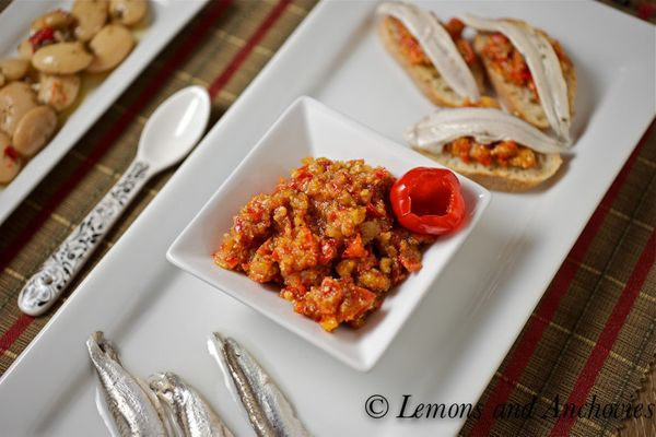"<strong>Get the <a href=""http://lemonsandanchovies.com/2012/02/tapas-peri-peri-pepper-almond-dip-with-marinated-anchovies/#.U"