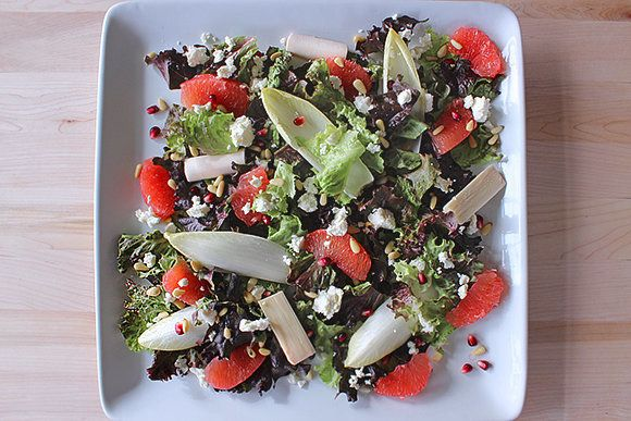 "<strong>Get the <a href=""http://food52.com/recipes/16676-winter-grapefruit-salad-with-citrus-ginger-vinaigrette"" target=""_bla"