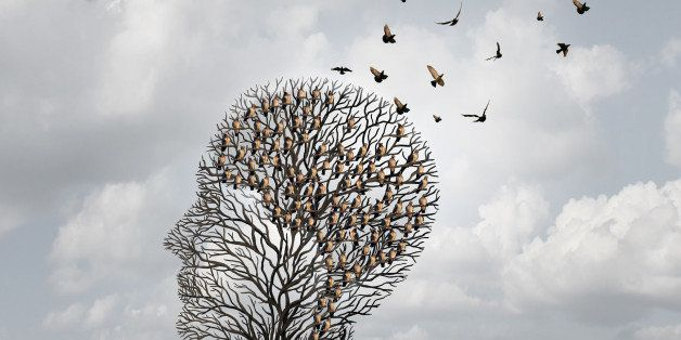 Memory loss concept and Alzheimer patient surreal symbol as a medical mental health care concept with an empty head shaped  tree and a group of birds shaped as a brain for neurology and dementia or losing intelligence.