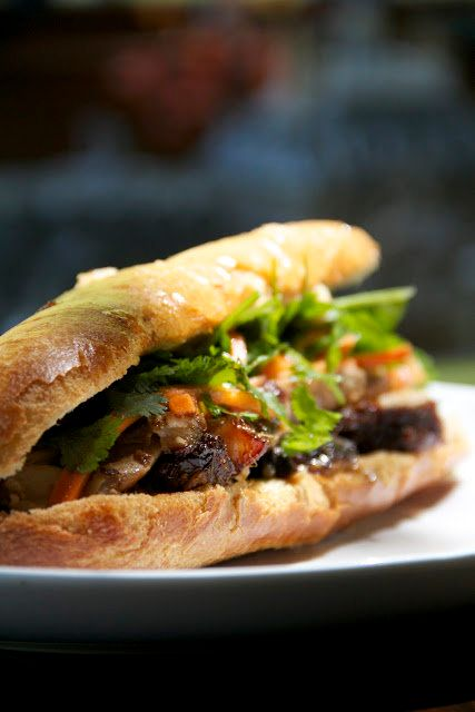 "<strong>Get the <a href=""http://www.mongastronomy.com/2012/05/sandwich-day-pork-belly-banh-mi.html"">Pork Belly Banh Mi recipe"