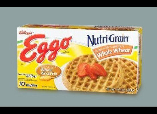 """The phrase """"made with whole grain"""" often means made with very LITTLE whole grain. Kellogg's Eggo Nutrigrain Whole Wheat Waffl"""