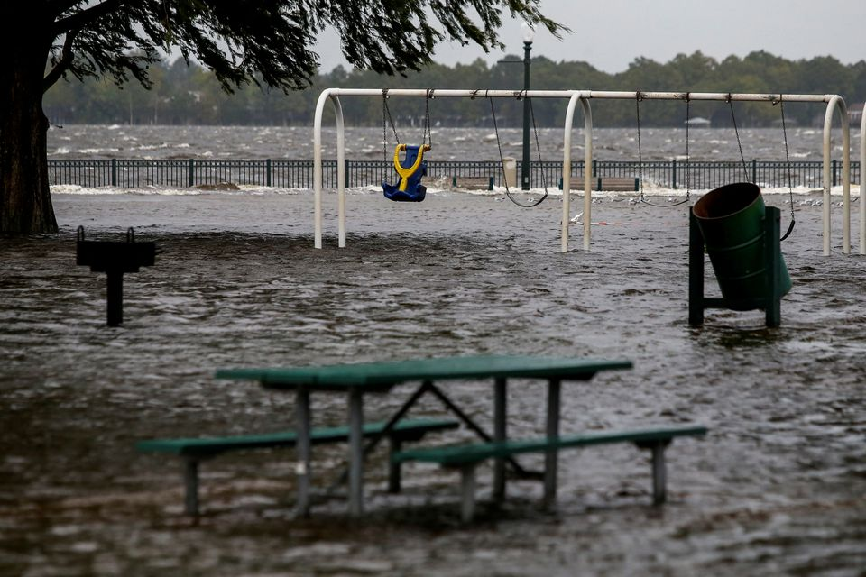 The Union Point Park Complex is seen flooded as the Hurricane Florence comes ashore in New Bern, North