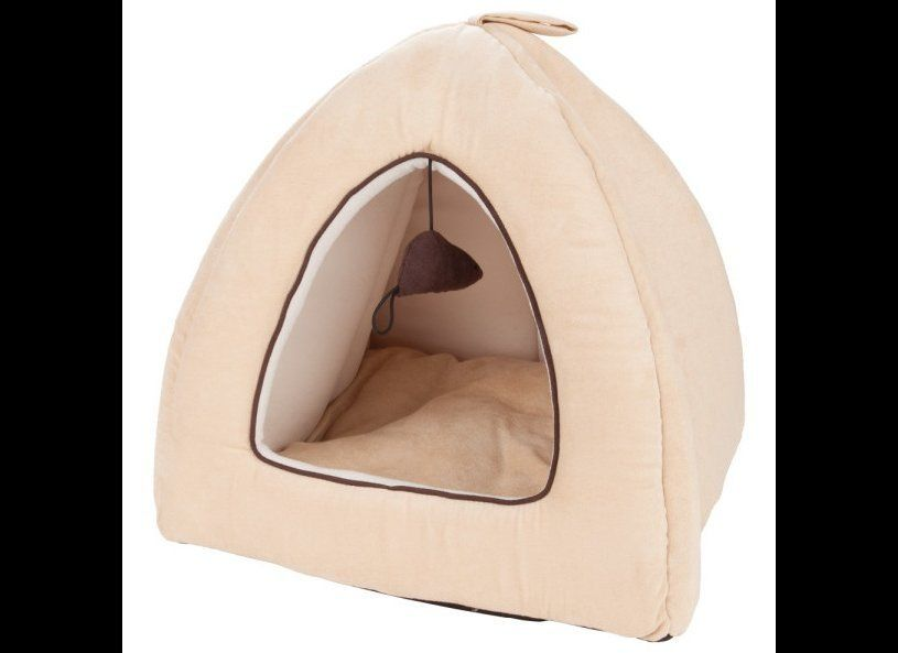 A personal tent for your cat to retreat to. The reversible cushion inside is machine washable and the exterior is faux suede.
