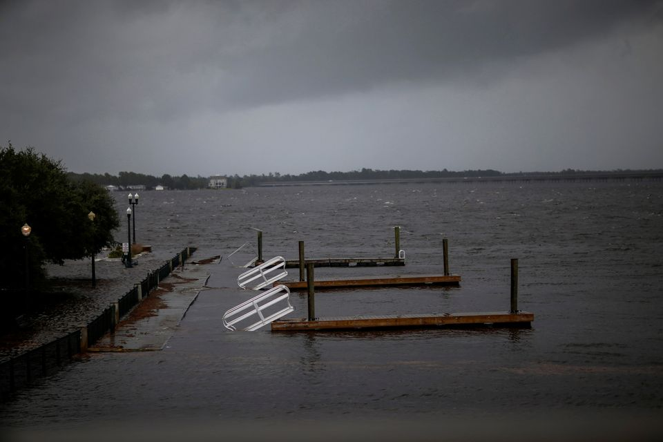 Docks broken by water from Neuse