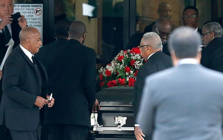 The casket carrying Botham Shem Jean arrived at the Greenville Avenue Church of Christ in Richardson, Texas on Thursday.