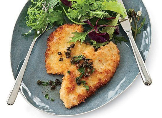 This Austrian-inspired chicken schnitzel recipe comes together as fast as you can pound out cutlets and fry them. A coating o