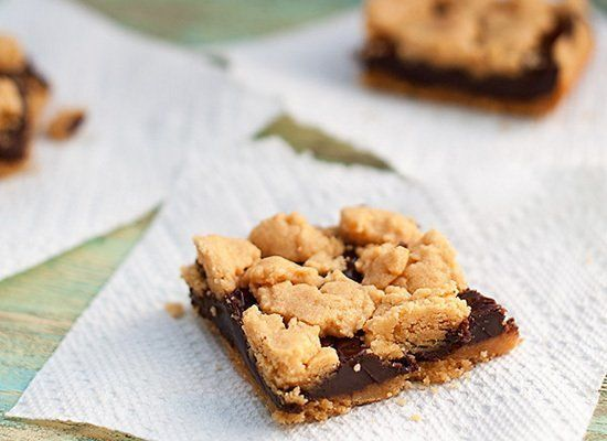 "<strong>Get the <a href=""http://www.bunsinmyoven.com/2012/07/11/chocolate-peanut-butter-bars/"" target=""_hplink"">Chocolate Pea"