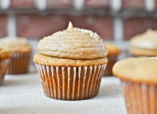 "<strong>Get the <a href=""http://www.howsweeteats.com/2012/03/brown-sugar-cupcakes-with-peanut-butter-brown-sugar-frosting/"" t"