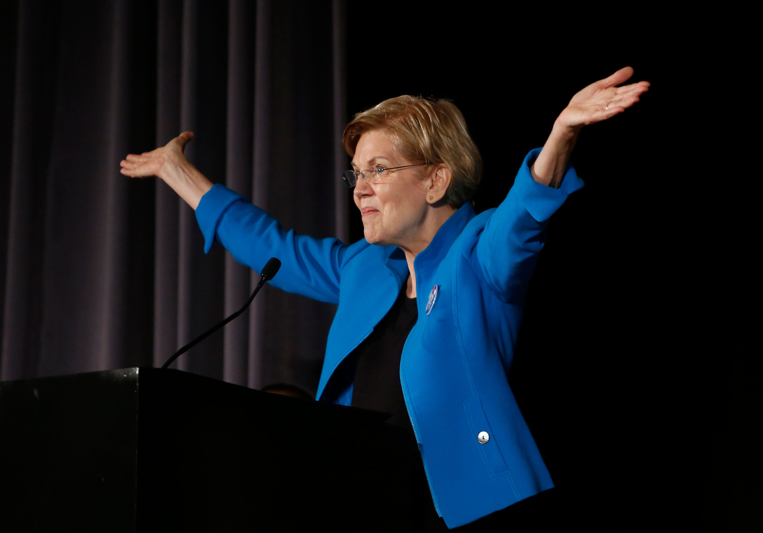BOSTON, MA - SEPTEMBER 3: U.S. Senator Elizabeth Warren addresses the Greater Boston Labor Council's Annual Labor Day Breakfast in Boston on Sep. 3, 2018. (Photo by Jessica Rinaldi/The Boston Globe via Getty Images)