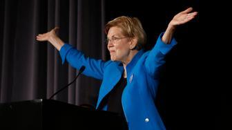 BOSTON, MA - SEPTEMBER 3: U.S. Senator Elizabeth Warren addresses the Greater Boston Labor Council's Annual Labor Day Breakfast in Boston on Sep. 3, 2018. (Photo by Jessica Rinaldi/The Boston Globe via Getty Images)