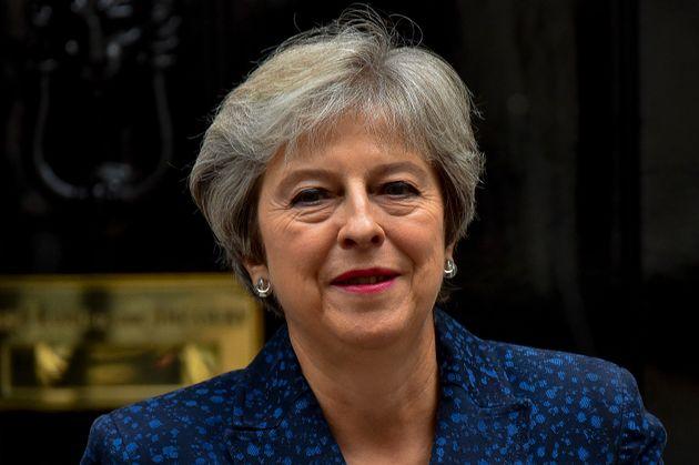 Theresa May outside Downing