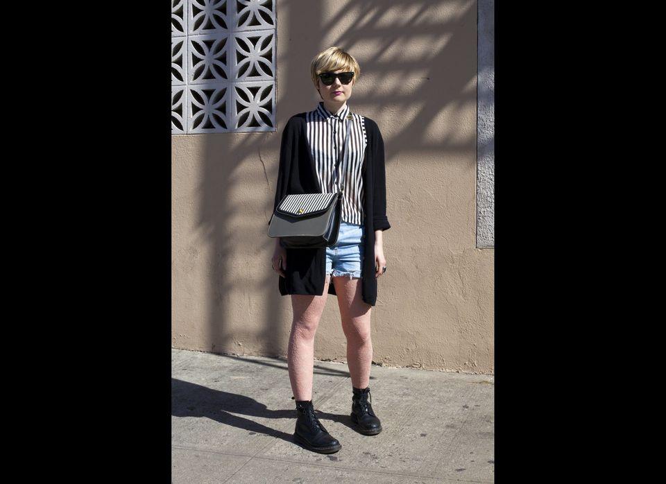 Wearing: Forever21 Top, H&M Shorts, Vintage Sweater, Doc Martin Boots, Vintage Bag  Favorite Neighborhood Shop: Buffalo Exc