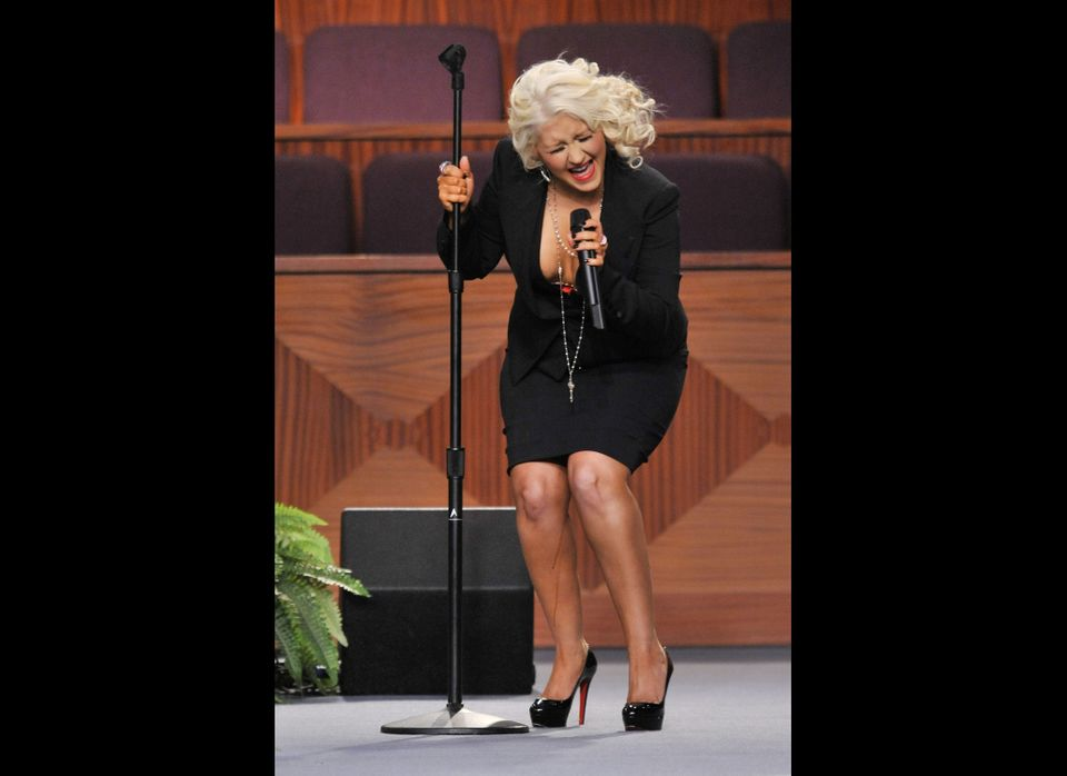 Christina had a very unflattering moment when her spray tan dripped right down her leg during her performance at Etta James'