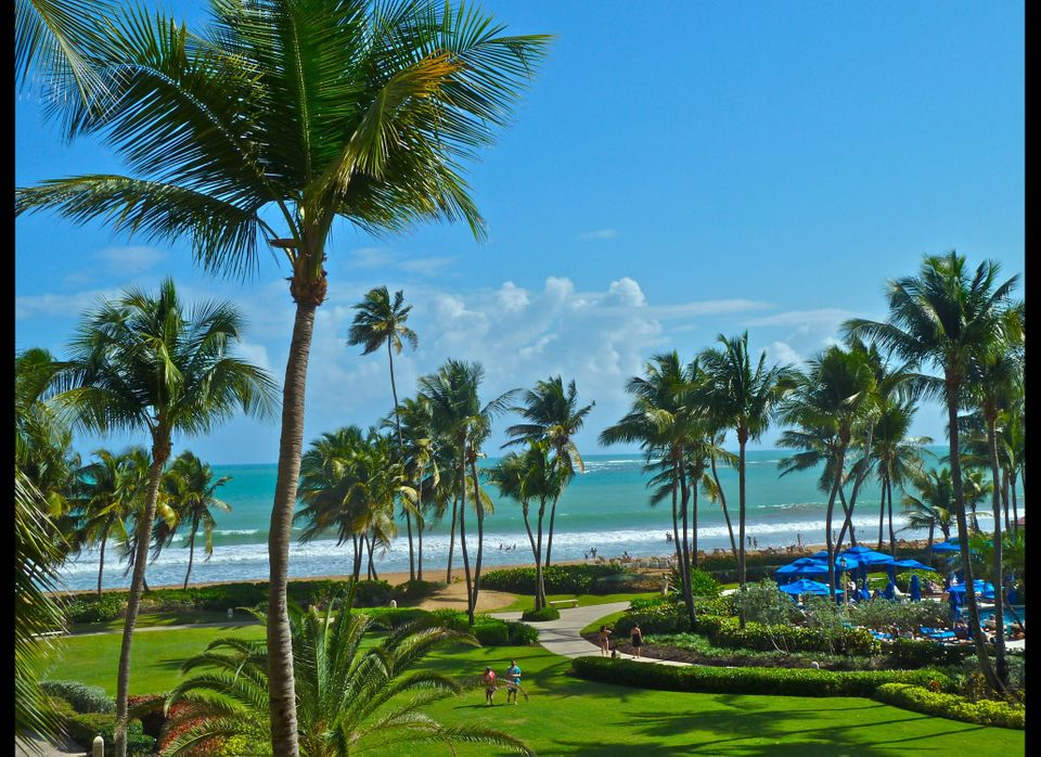 Wyndham Rio Mar Resort and Spa lawn and beach scene (by Dwight Brown)