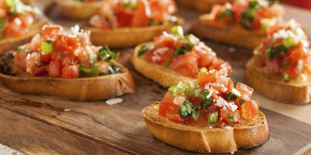 Homemade Italian Bruschetta Appetizer with Basil and Tomatoes