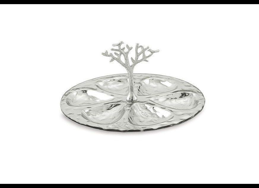 This elegant seder plate is made with nickel-plated glass. Centered around the tree of life, the design brings new meaning to