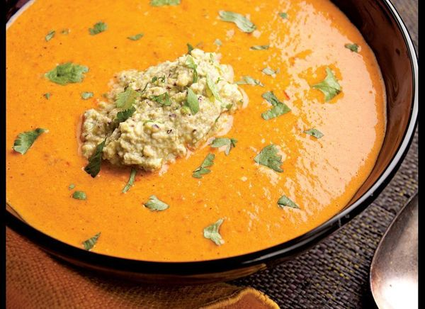 This creamy red pepper soup gets a bit of tang from the use of buttermilk and a little heat from Thai red chilis. The pistach