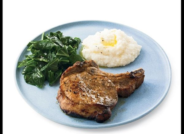 Just buttermilk is used to marinate these pork chops and it keeps them tender and moist. Once the chops have marinated for fo