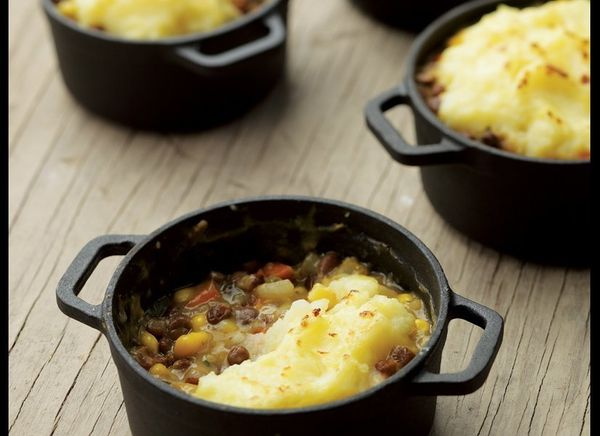 Shepherd's pie is the ultimate in comfort food. This savory mixture of lentils, carrots and corn, topped with mashed potatoes