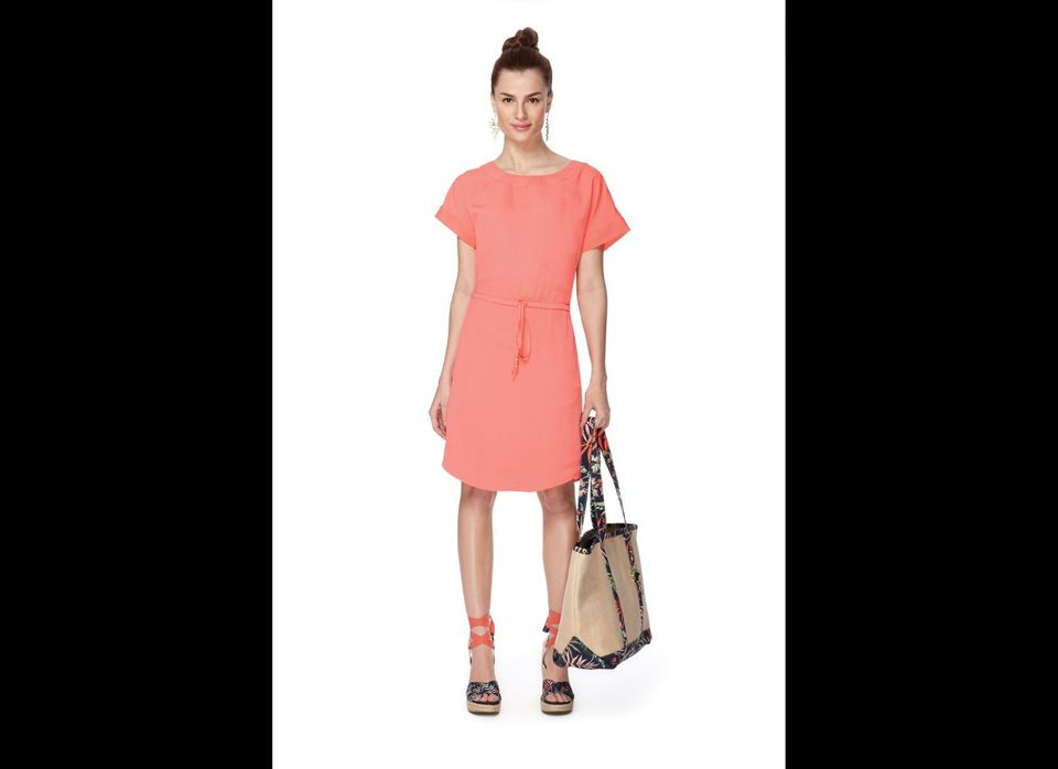 Short-Sleeved Drawstring Dress in melon, $36.99, with Wedge Sandals in palm print, $29.99 (a Target.com exclusive), Straw Bea
