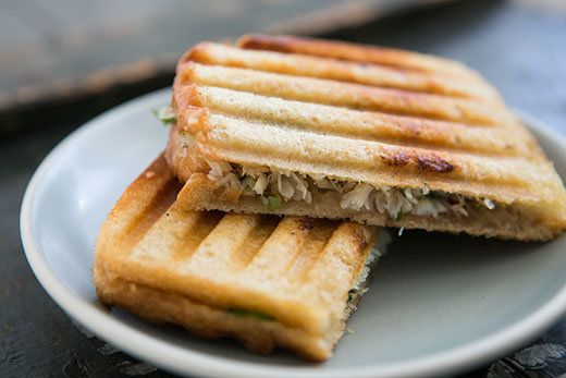"""<strong>Get the <a href=""""http://www.simplyrecipes.com/recipes/crab_salad_and_sourdough_panini/"""" target=""""_blank"""">Crab Salad an"""
